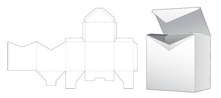 V shaped inclosed packaging box die cut template