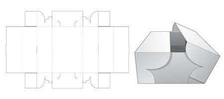 Opened middle long box die cut template Vektorgrafik