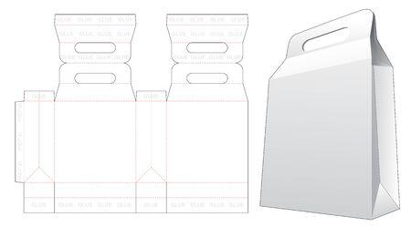 Handle shopping bag die cut template