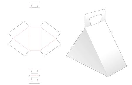 Triangular box with handle die cut template