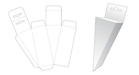Triangular box with hang hole die cut template