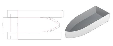 Boat shaped snack container die cut template
