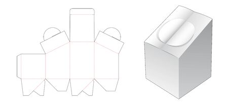 Cardboard box with double flip die cut template