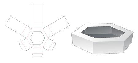 Cardboard hexagonal tray die cut template Illusztráció