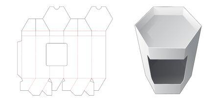 Hexagonal box with window die cut template Illusztráció