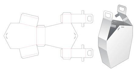 House box with handle die cut template Illusztráció