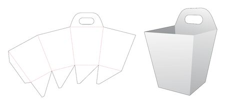 Popcorn box with handle die cut template