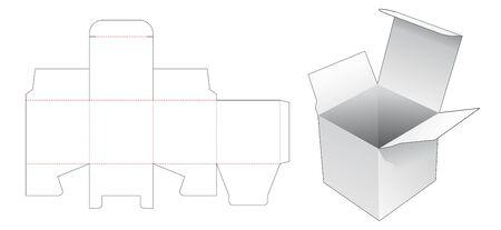 Simple square packaging box die cut template