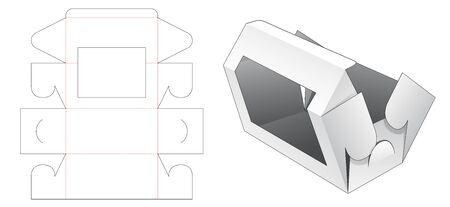 Folding cake box with window die cut template
