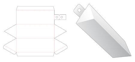 Triangular packaging with hang hole die cut template