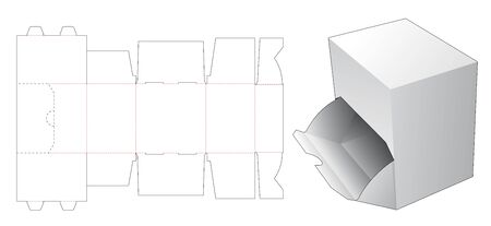 Openable box die cut template