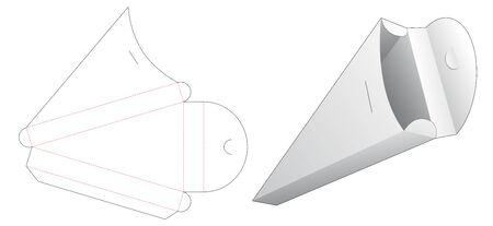 Sliced pizza packaging box die cut template