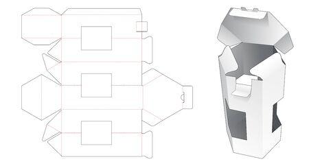 Hexagonal box with 3 windows die cut template