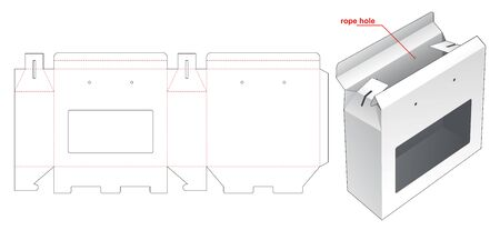 Carrying box with window die cut template