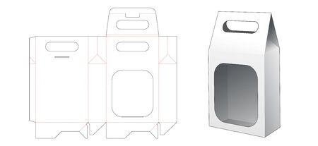 Snack packaging bag with holder die cut template
