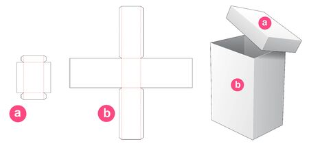 Tall box and lid packaging die cut template design