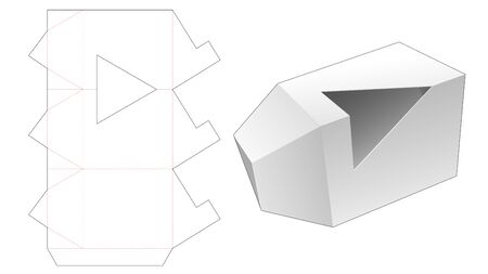 Triangular packaging box with triangle window die cut template