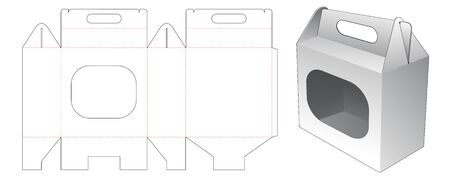 Carrying carton with window die cut template