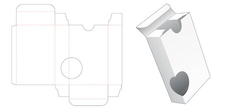 Tin box packaging with circle window die cut template design Illusztráció