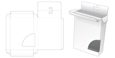 Packaging box with hang hole and curve window die cut template