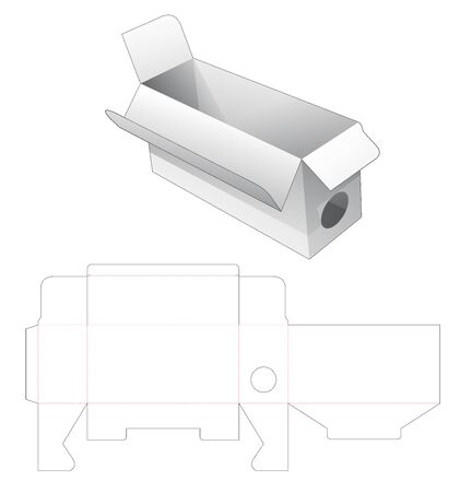 Packaging box with side circle window die cut template