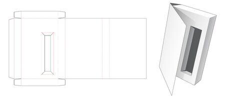 Front flip cosmetic box die cut template Illusztráció