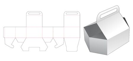 Carrying hexagonal container die cut template
