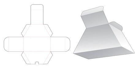 Cardboard trapezoid box die cut template