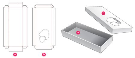 2 piece long box with 2 hearts window die cut template design