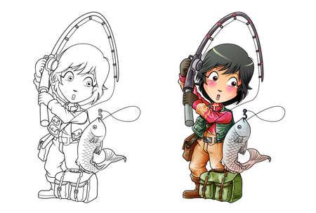 Fishing cartoon coloring page for kids Illusztráció