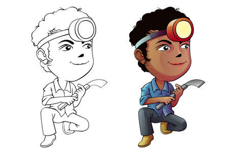 Rubber tapping man cartoon coloring page for kids