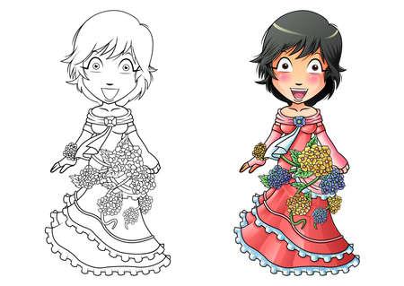 Girl in flower dress cartoon coloring page for kids Illusztráció