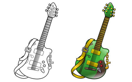 Guitar cartoon coloring page for kids