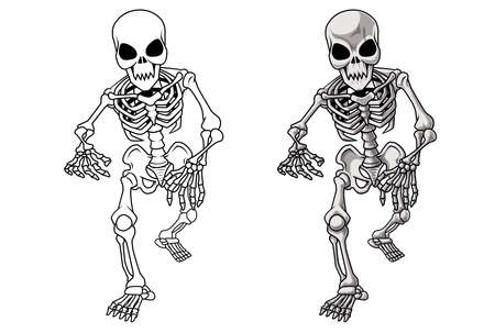 Skeleton cartoon coloring page for kids