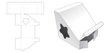 Triangular shaped packaging with star shaped window die cut template