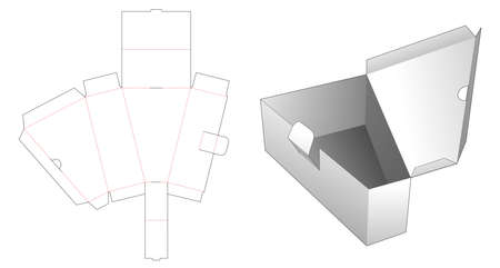 1 piece folding triangular box die cut template