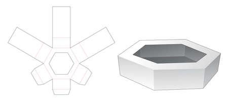 Cardboard hexagonal tray die cut template Stock Illustratie