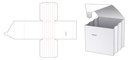 Collapsiable box die cut template