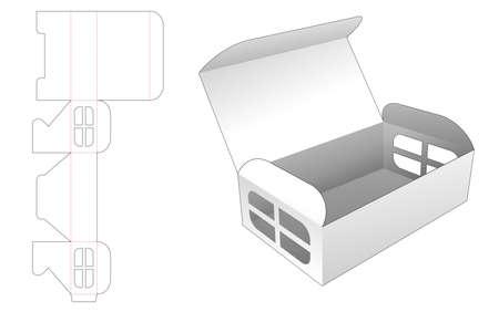 Folding box with side window die cut template