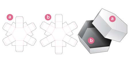 Hexagonal gift box and lid die cut template
