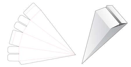 Triangular gift box die cut template Vecteurs