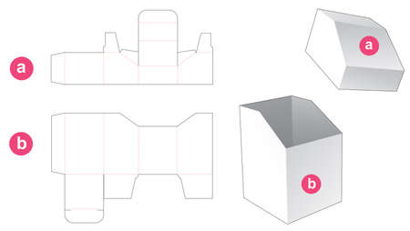 Chamfered box with chamfered lid die cut template