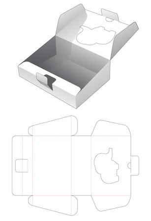 Cardboard sloped flip box with elepant shaped window cut template