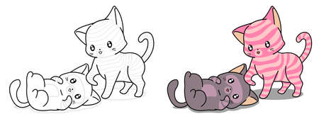 Kawaii cat is taking care friend cartoon coloring page for kids