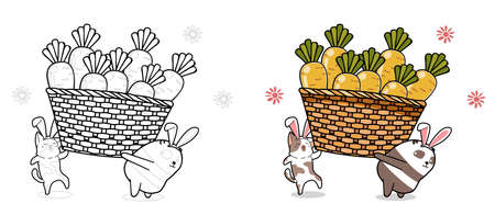 Cat and panda are lifting carrots cartoon coloring page for kids