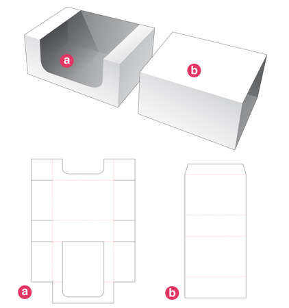 Rectangular tray and cover die cut template Vecteurs