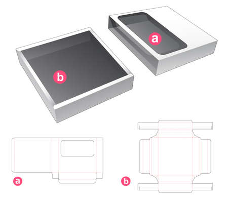 Tin box with cover which has window die cut template Vetores