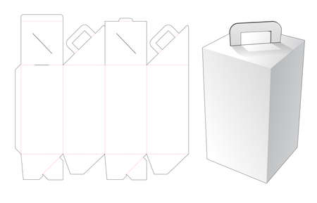 Tall delivery meal box with handle die cut template Vetores