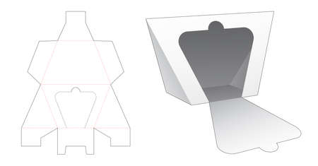 Zipping trapezoid triangular shaped packaging die cut template