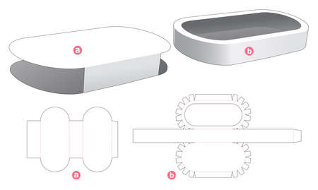 Elipse tray with cover die cut template